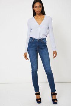 Mid Blue High Waist Jeans Ex-Branded