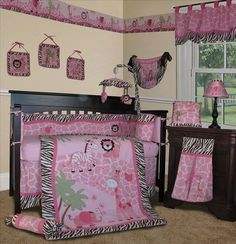 Baby Boutique Pink Safari 14 PC Girl Nursery Crib Bedding include Lamp Shade | eBay $126.99