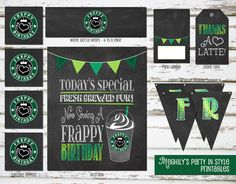Meghily's - Party Personalization is my Passion! 13th Birthday Parties, 12th Birthday, Teen Birthday, Birthday Ideas, Birthday Decorations, Starbucks Birthday Party, Birthday Coffee, Starbucks Coffee, Starbucks Drinks
