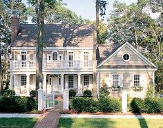 Love the exterior!I I love the plan too, but I\'d want to rearrange upstairs a bit so every room has an ensuite.