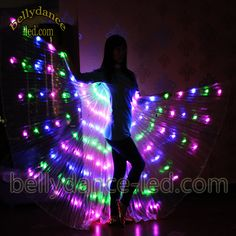 3 colored LED isis wings belly dance club show light performance