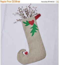 ON SALE Tyrolian style christmas stocking in natural by buydanusha