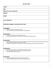 Oh, My Science Teacher!: 5E Model of Inquiry Lesson Plan Template ...