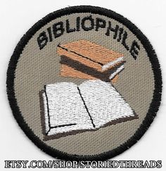 Bibliophile Geek Merit Badge Patch by StoriedThreads on Etsy, $7.00