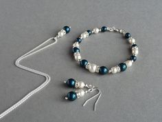 Teal Pearl Jewellery Set  Petrol Blue Pearl by annakingjewellery