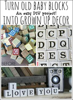 Turn old baby blocks into stylish grown up decor - display meaningful messages in your home. By Girl in the Garage Upcycled alphabet blocks into stylish grown up decor - display meaningful messages in your home. Wood Crafts, Diy Crafts, Stick Crafts, Creative Crafts, Fall Crafts, Kids Blocks, Alphabet Blocks, Diy Bebe, Block Craft
