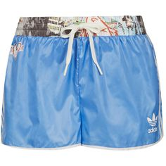 **Blue Runner Shorts by Topshop x adidas Originals (€12) ❤ liked on Polyvore featuring shorts, topshop, adidas, bottoms and blue