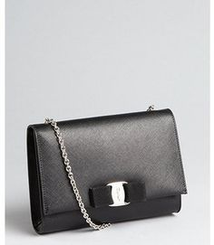 a12e98812572 Salvatore Ferragamo - Black Crosshatched Leather Bag -  476.00 - Click on  the image to shop now
