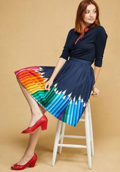<p>Your style icons have taught you to color outside the lines - advice you're happy to pass on through this navy blue skirt! A cotton bottom made magnificent with a ModCloth-exclusive print of photorealistic colored pencils 'round the hem, this pocketed piece will be the magnum opus of your wardrobe.</p>