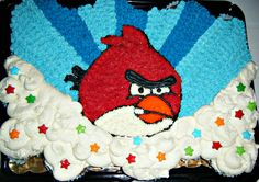 Angry Birds pull-apart cupcake cake for a bday