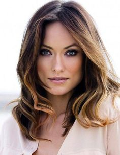 Olivia Wilde's gorgeous color. Dark brown roots with golden highlights