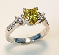 Yellow Princess cut diamond  www.troyshoppejewellers.com