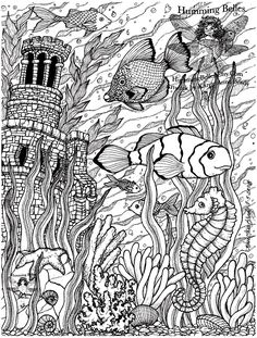 Free coloring page «coloring-poissons-difficult-5». An aquarium filled with plants and decorative objects, with beautiful fish. Very realistic, detailed, and well done, cloror it without delay