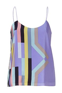 Lavender mutli-pastel printed silk camisole top from Tibi