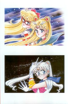 """""""I purposely painted this, changing the amorous glances. It was a telephone card as a service item. It's unusual for Sailor Moon and Sailor V to be lined up together."""" """"This color picture is a picture for use as a telephone card. I drew this before the serial, when I was still wavering on the costume. The face is also different."""""""