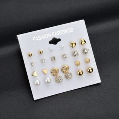0deb2ba7f99f MissCyCy Fashion 12 pair set Women Square Crystal Heart Stud Earrings for  Women Piercing Simulated Pearl Flower Earrings
