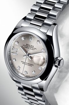 The lady-Datejust 28 in platinum with a domed bezel and a silver dial set with diamonds. - hublot watches, watch for mens with price, the watch shop sale *sponsored https://www.pinterest.com/watches_watch/ https://www.pinterest.com/explore/watches/ https://www.pinterest.com/watches_watch/diamond-watches/ https://www.swissarmy.com/us/en/Products/Watches/c/TP