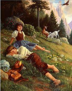 """""""Heidi y Peter"""" - Ilustración de Ruth Anderson  del cuento de Johana Spyri """"Heidi"""""""