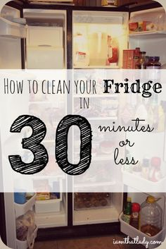 Is your fridge so gross that you're overwhelmed by cleaning it? Here's how to do it in 30 minutes or less! #DIY #cleaning #appliances
