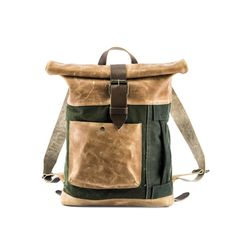 Canvas and leather small backpack with vintage by KrukGarage