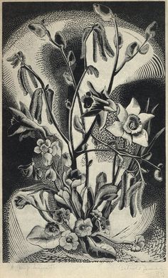 A Spring Bouquet,woodcut by Gertrude Hermes, from the book Wood-Engraving and Wood Cuts by Clare Leighton (1932, London).