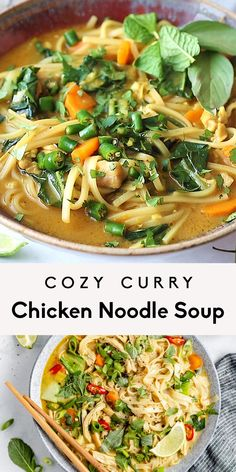 Cozy and nourishing curry chicken noodle soup filled with veggies and simmered in a flavorful coconut milk broth. This one pot curry chicken noodle soup is packed with protein and immune-boosting ingredients for a wonderful lunch or dinner during colder months! #soup #chickensoup #healthydinner #healthylunch #glutenfree #dairyfree Sweet Potato Recipes Healthy, Healthy Recipe Videos, Healthy Soup, Healthy Cooking, Healthy Eating, Healthy Recipes, Flower Drawing Images, Beautiful Flower Drawings, Most Beautiful Flowers