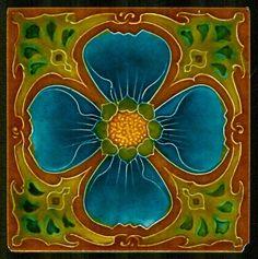 Superb ART NOUVEAU tile BLUE FLOWER by MARSDEN1900's