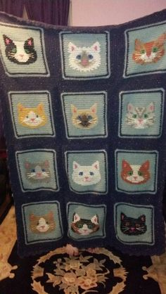 Someone please make me this. crocheted kitty afghan