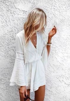 Ahh, I love this! | modern fashion design, all white, romper, hair, blonde bayalage, balayage, bell sleeves, modern, contemporary, simple, simplistic, minimalistic, minimalist, perfection, cute, fashion forward, cinched waist, figure flattering, summer, spring, wedding attire, graduation, college