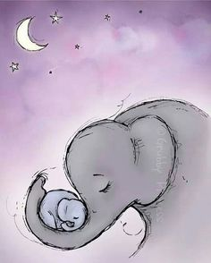 Illustration Sad Wall Art Goodnight Elephant Nursery Purple by GrubbyPrincess Illustration SadSource : Wand Kunst Goodnight Elefanten Kindergarten lila von GrubbyPrincess by schaefer_sari Elephant Love, Elephant Art, Elephant Tattoos, Baby Elephant Drawing, Baby Elephant Nursery, Elephant Canvas Painting, Elephant Drawings, Elephant Sketch, Mom And Baby Elephant