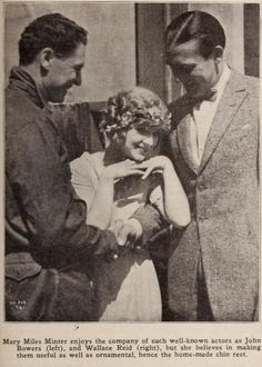Wallace Reid, John Bowers and Mary Miles Minter on the lot May 1920
