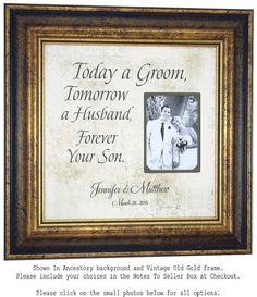 Wedding Gifts For Parents Bride Groom MOM & by PhotoFrameOriginals