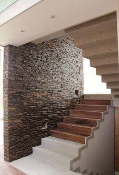 Stone + wood + white stairs
