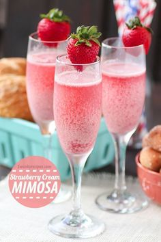 "Strawberry Cream Mimosa The only brunch beverage you'll want! This mimosa is delicious and beautiful. Serve for brunch and holidays! ""I was invited to be a brand representative Brunch Drinks, Cocktail Drinks, Fun Drinks, Alcoholic Drinks, Drinks With Champagne, Beverages, Easter Cocktails, Pink Champagne Punch, Champagne Punch Recipes"