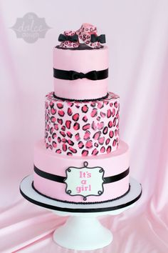 """Leopard Cheetah Baby shower cake  """"Its a Girl"""" - all buttercream cake with Leopard/Cheetah Print. Baby Girl Shower cake"""