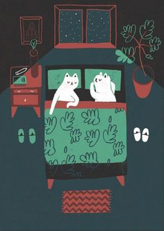 Sleeping cats in a room #illustration #cats #room
