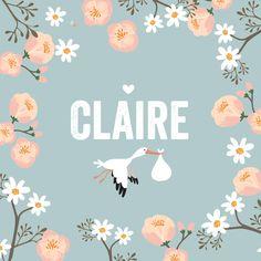 Lief geboortekaartje meisje met ooievaar en bloemen in een mooie blauw tint, een keer wat anders dan roze!