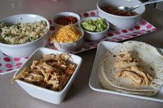 Copy Cat Chipotle Chicken Burritos for slow cooker – 5 Dinners in 1 Hour.