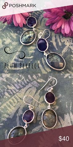 Plum Perfect Earrings Slices if of amethyst and luminescent labradorite in sterling silver. Jewelry Earrings