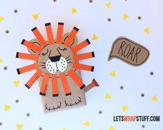 Turn a plain brown paper package into an adorable and whimsical present with this sleepy lion gift wrap. Just add some geometric paper shapes.