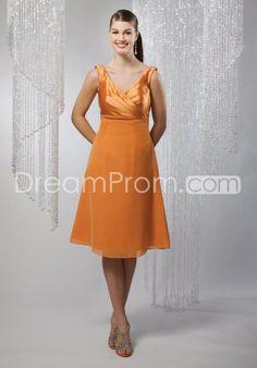 Charming A-Line Knee-Length V-Neck Bridesmaid Dress