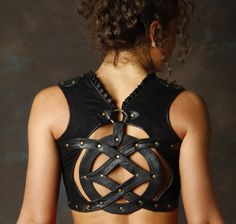 The coolest leather crop top ever by Sefirah Fierce Designs - for when life gives you genuine Rock Star moments.