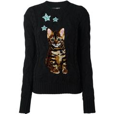 Dolce & Gabbana Bengal Cat patch jumper ($2,745) ❤ liked on Polyvore featuring tops, sweaters, black, long sleeve tops, cable jumper, sequin sweater, sequin jumper and cable sweater