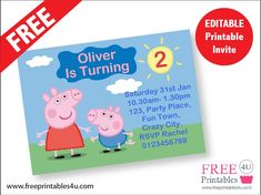 Free Peppa Pig Invites  freeprintables4u.com
