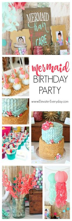 Mermaid Birthday Party with links to everything she used to decorate and treats she made. Perfect for an alternative to Disney The Little Mermaid Ariel party.