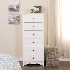 Prepac Monterey White Chest - The Home Depot Chest Dresser, 6 Drawer Chest, 6 Drawer Dresser, Chest Of Drawers, Tall Dresser, Double Dresser, Tall Drawers, Wood Drawers, Cabinet Furniture