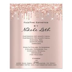 Makeup Beauty Salon Rose Glitter Flyer Spark Drips Business Branding, Business Card Design, Business Ideas, Business Cards, Salon Menu, Spa Logo, Esthetician Room, Spa Rooms, Price List