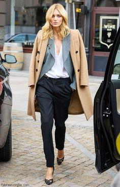 Anja Rubik street style with camel coat. #anjarubik