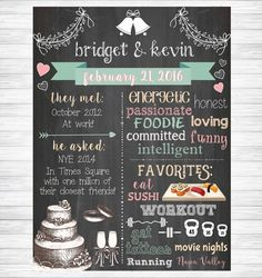 Wedding Chalkboard Sign Couples Wedding Shower by KMWDesigns