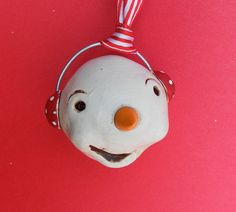 Christmas Snowman Ornament with Polka Dot Earmuffs by indigotwin, $8.00